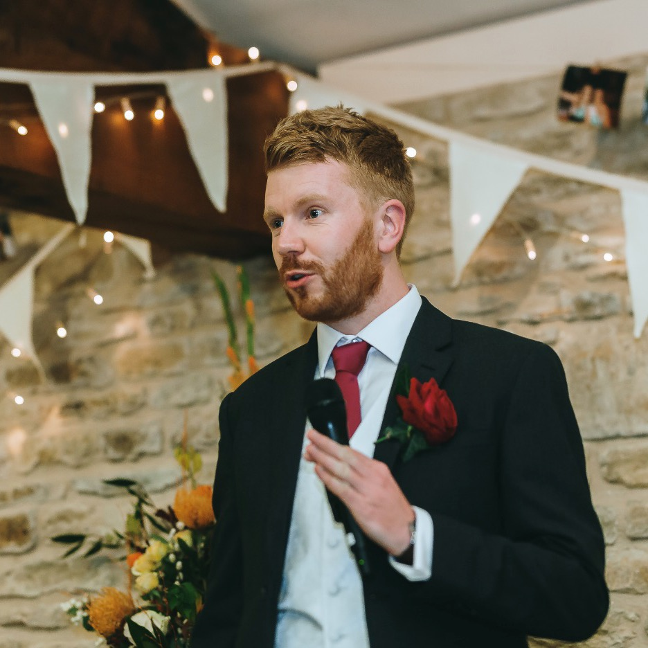 Delivering a best man speech, Wiltshire, October 2019